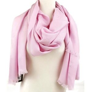 Authentic New With Tags Gucci Monogram GG Rose Pink Long Scarf Wool/Silk
